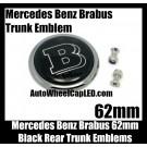 Brabus Mercedes Benz Black Chrome Silver 62mm Rear Trunk Badge Emblem Boot Metal Class W E S C CLK SLK Series