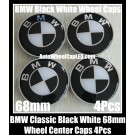 BMW Black White 68mm Wheel Center Hubs Caps Roundels 4Pcs Emblems Badges Aluminium Alloy