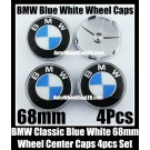 BMW Classic Blue White 68mm Wheel Center Hubs Caps Roundels 4Pcs Emblems Badges Aluminium Alloy