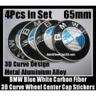 BMW Carbon Fiber Blue White Wheel Center Hubs Caps 65mm Roundel Emblems Badges Stickers 4Pcs Curve