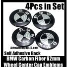 BMW Carbon Fiber Black White Wheel Center Cap 62mm Emblems 4Pcs Roundel Set Self Adhesive Back Stickers
