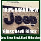 Jeep Gloss Devil Black Hood Truck Emblem Badge Front Wrangler Grand Cherokee Stickers