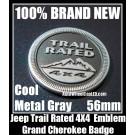 Jeep Trial Rated 4X4 Metallic Gray Black Metal Emblem Badge Wrangler Grand Cherokee