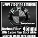 BMW Black White Carbon Fiber Steering Wheel Horn Emblem Badge Roundel 45mm