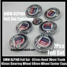 BMW ALPINA 7Pcs Emblems 82mm Hood 74mm Trunk 68mm Wheel Center Caps 45mm Steering Wheel Horn Bonnet Boot Badges Full Set