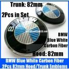 BMW Carbon Fiber Blue White 2Pcs 82mm Hood Trunk Emblems Bonnet Boot Badges Roundels Set