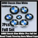 BMW Blue White 7Pcs Emblems 82mm Hood 74mm Trunk 68mm Wheel Center Caps 45mm Steering Horn Bonnet Boot Roundels Badges Full Set