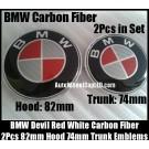 BMW Red White Carbon Fiber 82mm Hood 74mm Trunk Emblems Roundel Badges 2Pcs Bonnet Boot