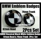 BMW Classic Black White 2Pcs 82mm Hood 74mm Trunk Emblems Badges Roundels Bonnet Boot Aluminium Alloy