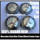Mercedes Benz 75mm Deep Blue Chrome Silver Star Wheel Center Caps Emblems 4Pcs Set C Class E S CLK SLK