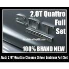 Audi 2.0T Quattro Rear Trunk Black Chrome Silver Letters Emblems Badges A3 A4 A5 A6 A7 A8 Q3 Q5 Q7 TT A4L A6L