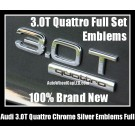 Audi 3.0T Quattro Rear Trunk Black Chrome Silver Letters Emblems Badges A3 A4 A5 A6 A7 A8 Q3 Q5 Q7 TT A4L A6L