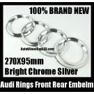 Audi Rings Chrome Silver Emblem Front Rear Grill Hood Trunk Badge A3 A4 A6 A8 S3 S4 S6 R Q7 Q5 270X95mm