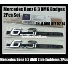 Mercedes Benz 6.3 AMG 2Pcs Side Emblems Stickers Badges A 000 817 02 14 PN C63 E63 S63 CL63 CLS63 SL63 CLK63 ML63 G63