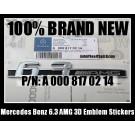 Mercedes Benz 6.3 AMG Side Emblem Sticker Badge PN A 000 817 02 14 C63 E63 S63 CL63 CLS63 SL63 CLK63 ML63 G63