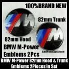BMW ///M Power Emblems 82mm Hood Trunk 2Pcs Set Blue Red Stripes Bonnet Boot Metal Alloy M3 M5 M6