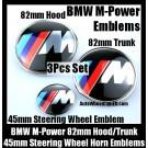 BMW ///M Power Emblems 82mm Hood Trunk Steering Wheel Horn 45mm 3Pcs Set Blue Red Stripes Bonnet Boot Badges M3 M5 M6