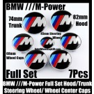 BMW ///M Power Wheel Center Caps 68mm Steering Horn 45mm Hood 82mm Trunk 74mm Emblems 7Pcs Bonnet Boot Roundels Badges Full Set M3 M5 M6