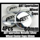 ABT Sportsline Wheel Center Hubs Caps 60mm Chrome Silver Roundels Emblems 4Pcs Set Volkswagen Audi A4 A5 A6 A8 Golf Jetta and More