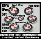 BMW Red White 7Pcs Emblems 82mm Hood 74mm Trunk 68mm Wheel Center Caps 45mm Steering Horn Bonnet Boot Roundels Badges Full Set