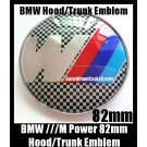 BMW ///M Power Black White Squares Emblem 82mm Hood Trunk Blue Red Stripes Bonnet Boot Badge M3 M5 M6