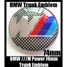 BMW ///M Power Black White Squares Emblem 74mm Trunk Blue Red Stripes Boot Badge M3 M5 M6