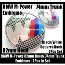 BMW ///M Power Emblems 82mm Hood 74mm Trunk 2Pcs Set Blue Red Stripes Black White Squares Back Bonnet Boot M3 M5 M6 Metal Alloy