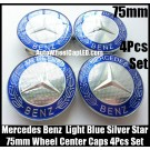 Mercedes Benz 75mm Light Blue Chrome Silver Star Wheel Center Caps Emblems 4Pcs Set C Class E S CLK SLK
