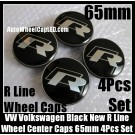 VW Volkswagen Type R Line Black Chrome Silver Wheel Center Caps 65mm 3B7 601 171 4Pcs Set Aluminum Alloy Golf Bora Jetta Polo Passat 3B7601171