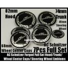 BMW AC Schnitzer Forged 7Pcs Emblems 82mm Hood 73mm Trunk 68mm Wheel Center Caps 45mm Steering Wheel Horn Bonnet Boot Roundels Badges Full Set