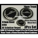 BMW AC Schnitzer Forged Steering Wheel Horn 45mm Hood 82mm Trunk 74mm Emblems 3Pcs Bonnet Boot Roundels Badges Full Set