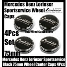 Mercedes Benz Lorinser Sportservice Black Wheel Center Caps 75mm Hubs Roundels Emblems Badges CLK ML GL SL CL E C S Class 4Pcs