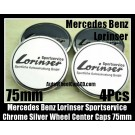 Mercedes Benz Lorinser Sportservice 75mm Chrome Silver Wheel Center Caps Emblems 4Pcs Set