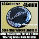 BMW AC Schnitzer Forged Steering Wheel Horn Emblem 45mm Black Chrome Silver Aluminum