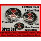 BMW Carbon Fiber Red Black Steering Wheel Horn 45mm Hood 82mm Trunk 74mm Emblems 3Pcs Bonnet Boot Roundels Badges Set
