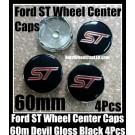Ford ST Black 60mm Wheel Center Caps Emblems Aluminum Focus Fiesta Escape Mondeo 4Pcs Set