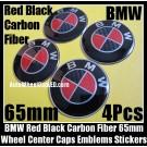 BMW Carbon Fiber Red Black Wheel Center Hubs Caps 65mm Roundels Emblems Badges Stickers 4Pcs Curve