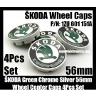 Skoda ŠKODA VW 56mm Wheel Center Caps Emblems 1ZD 601 151A Green Bird Octavia Fabia Superb Roomster Volkswagen 4Pcs 1ZD601151A