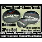 BMW Hamann Motorsport GMBH Blue Red Bird Bonnet Boot Emblems Hood 82mm Trunk 74mm Steering Wheel Horn 45mm 3Pcs Set