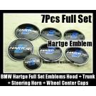 BMW Hartge 7Pcs Emblems 82mm Hood 74mm Trunk 68mm Wheel Center Caps 45mm Steering Horn Black Blue Stripes Bonnet Boot Roundels Badges Full Set