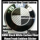 BMW Black White Carbon Fiber 74mm Trunk Emblem Roundel Badge Sticker Self Adhesive Back Aluminium Alloy