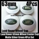 Land Rover Matte Silver Green Wheel Center Caps 63mm Vogue Sport Evoque Discovery Freelander LR2 LR3 LR4 4Pcs Set