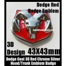 Dodge 3D Red Chrome Silver Emblem Hood Trunk Head Grill Tailgate 43*43mm Ram Badge Avenger Caliber Challenger