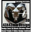 Dodge 3D Black Chrome Silver Emblem Hood Trunk Head Grill Tailgate 43*43mm Ram Badge Avenger Caliber Challenger