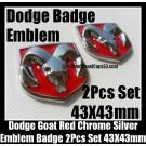 Dodge 2Pcs 3D Ram Red Chrome Silver Emblems Hood Trunk Bonnet Boot Badges Grill Tailgate Avenger Caliber Challenger 43X43mm