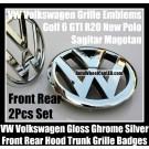 VW Volkswagen Gloss Chrome Silver Front Grille Rear Emblems Badges Golf 6 MK6 GTI GTIs R20 New Polo Sagitar Magotan Bonnet Hood Boot Trunk 2Pcs