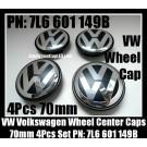 VW Volkswagen 70mm Wheel Center Emblems Caps 7L6 601 149 B Touareg Golf Polo Jetta Passat Lupo New Beetle Touran 4Pcs Set Black Chrome Silver 7L6601149B