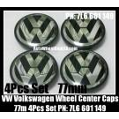 VW Volkswagen 77mm Wheel Center Emblems Caps 7L6 601 149 Touareg Golf Polo Jetta Passat Lupo New Beetle Touran 4Pcs Set Black Chrome Silver 7L6601149