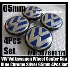 VW Volkswagen 65mm Blue Chrome Silver Wheel Center Emblems Caps 3B7 601 171 Golf Bora Jetta Polo Passat 4Pcs Set 3B7601171