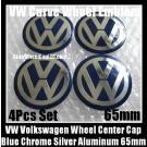 VW Volkswagen 65mm Blue Chrome Silver Wheel Center Cap Stickers Emblems Curve Aluminum 4Pcs Set